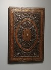 An Indian Carved Wooden Panel with Brass Inlay, 19th century