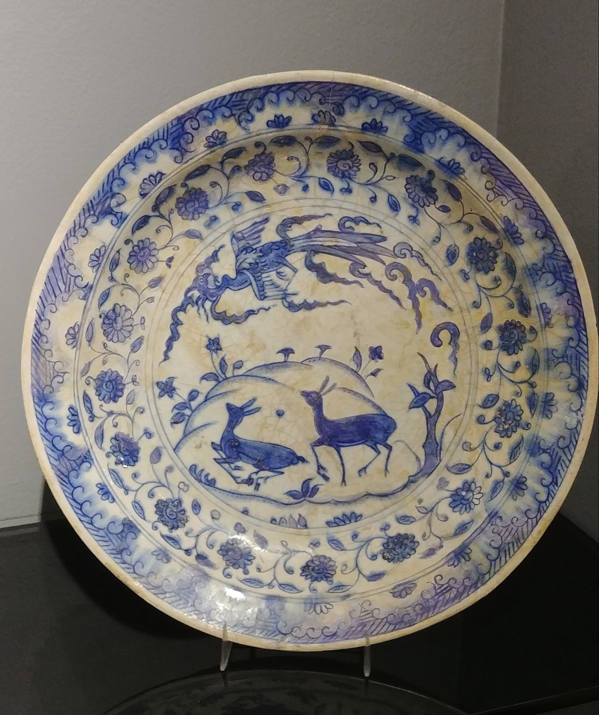 A Safavid Blue & White Pottery Plate, 17th century