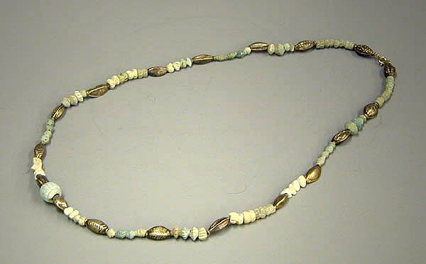 A Mesopotamian Gold & Faience Bead Necklace
