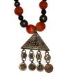 Persian Carnelian & Silver Necklace , 18 cent