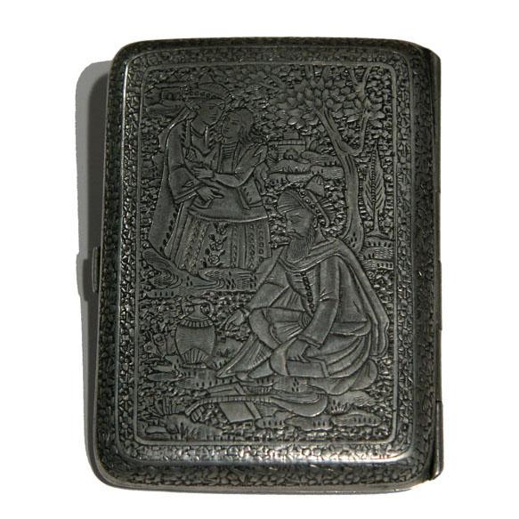 Qajar Sterling Silver Cigarette Case, Iran