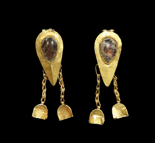 Ancient Gold and Glass Earrings - Marlik