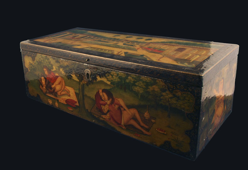 A Large Persian Erotic Lacquer Box, 19th century