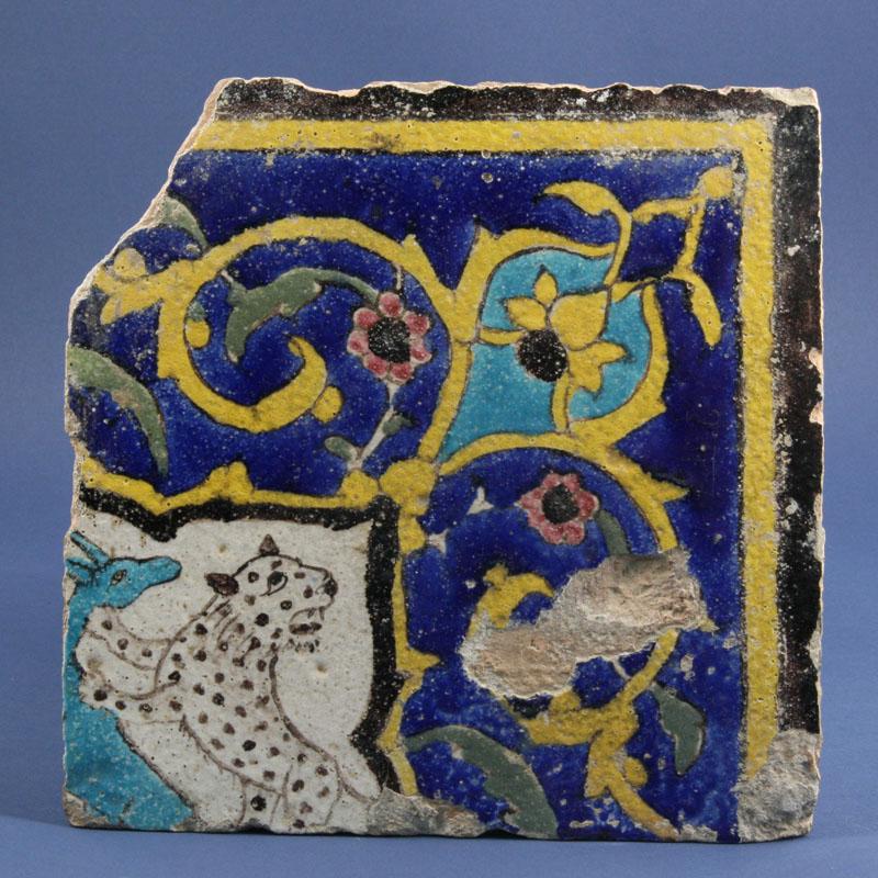 Late Safavid Cuerda Seca Pottery Tile.