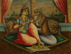 A Qajar Persian Painting of an Amorous Couple.