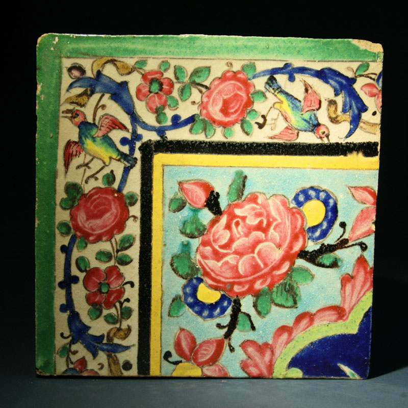 Qajar Painted and Glazed Pottery Wall Tile