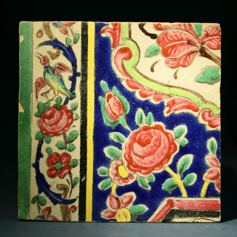 Qajar Painted and Glazed Pottery Wall Tile, Iran 19th century