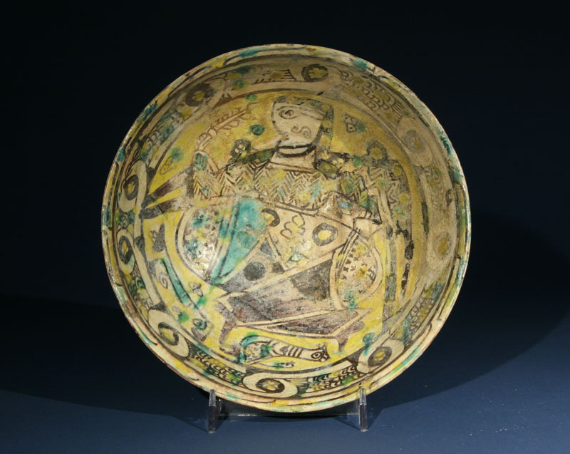 A Nishapur Slip Painted Pottery Bowl
