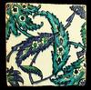 Iznik Pottery Tile with large Saz Leaf