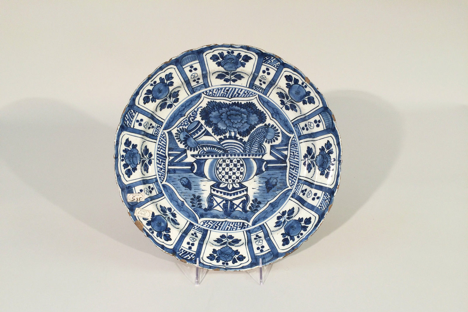 Delft Blue and White Pottery Charger with Japanese Motif
