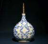 A Safavid Blue, White & Red Soft Paste Porcelain Bottle