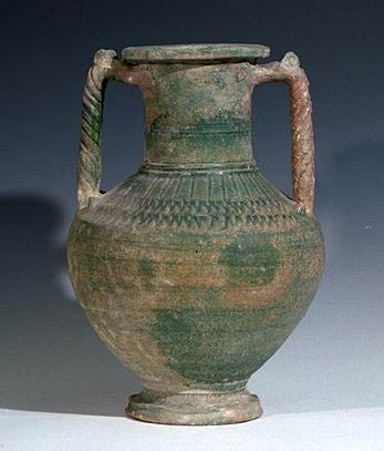 A Parthian Glazed Ceramic Urn with Handles